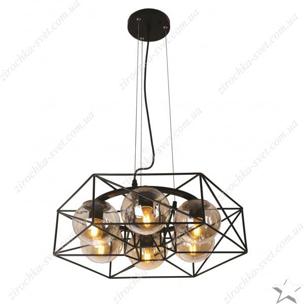 Люстра подвес лофт 6 ламп черный 06-6