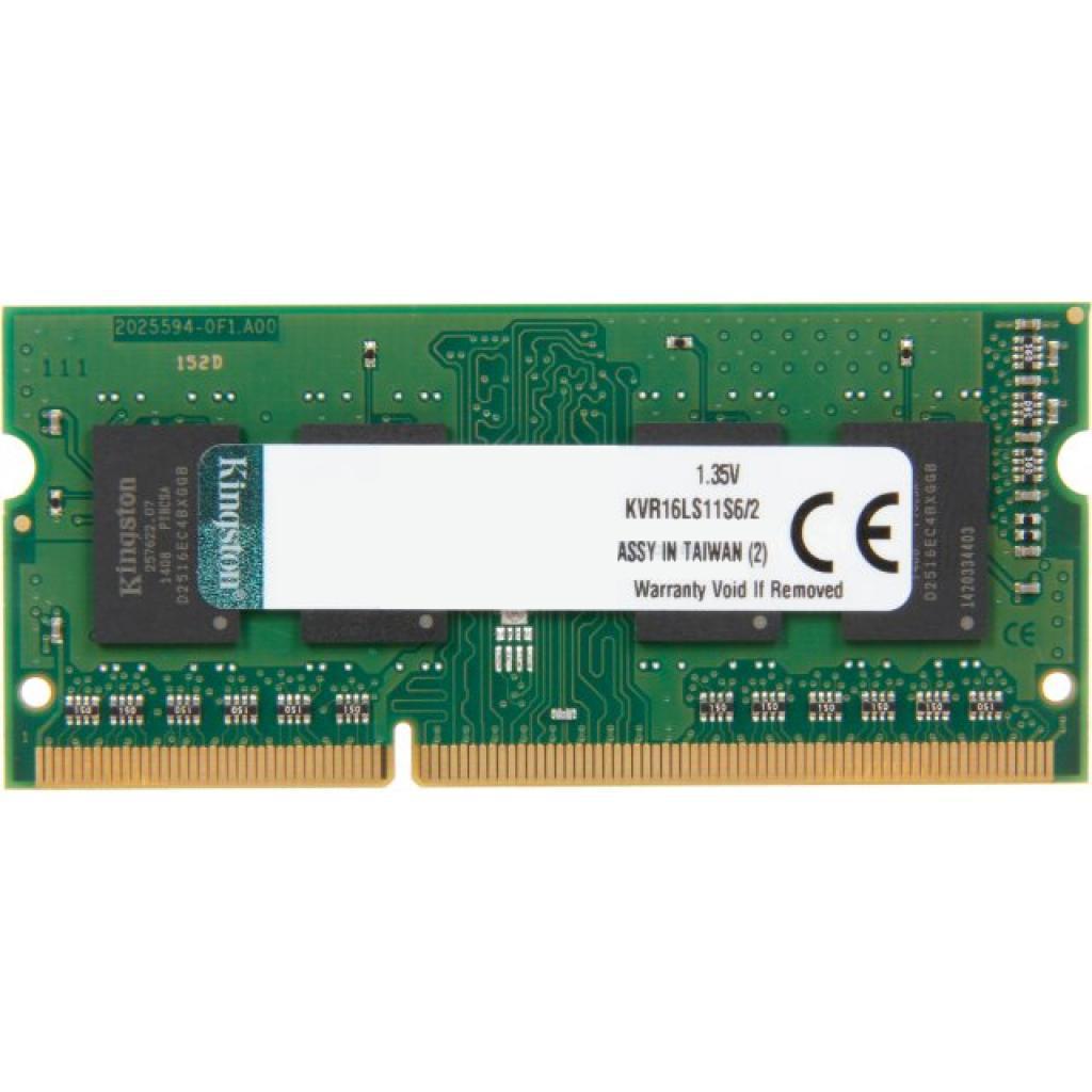 Модуль памяти для ноутбука SoDIMM DDR3 2GB 1600 MHz Kingston (KVR16LS1