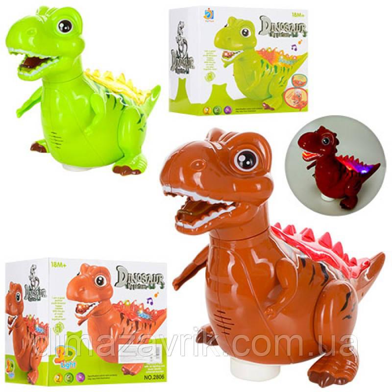 Динозавр 2806 19 см, звук, свет, ездит, 2 цвета, на бат-ке, в кор-ке21-20-14 см