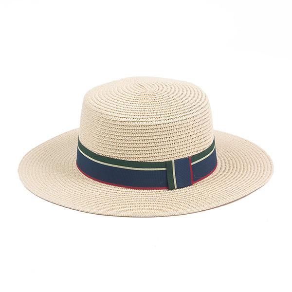 Шляпа канотье из соломки цвет бежевый