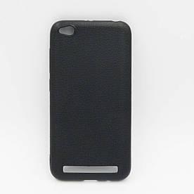 Чехол накладка для Xiaomi Redmi 5A силиконовый, Фактура кожи, черный