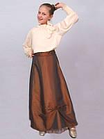"""Юбка детская  м-296 рост 152 158 коричневая тм """"Попелюшка"""""""