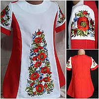 """Вышитое платье для девочки """"Луговые цветы"""", габардин, рост 116-134 см., 390/350 (цена за 1 шт+ 40 гр.), фото 1"""