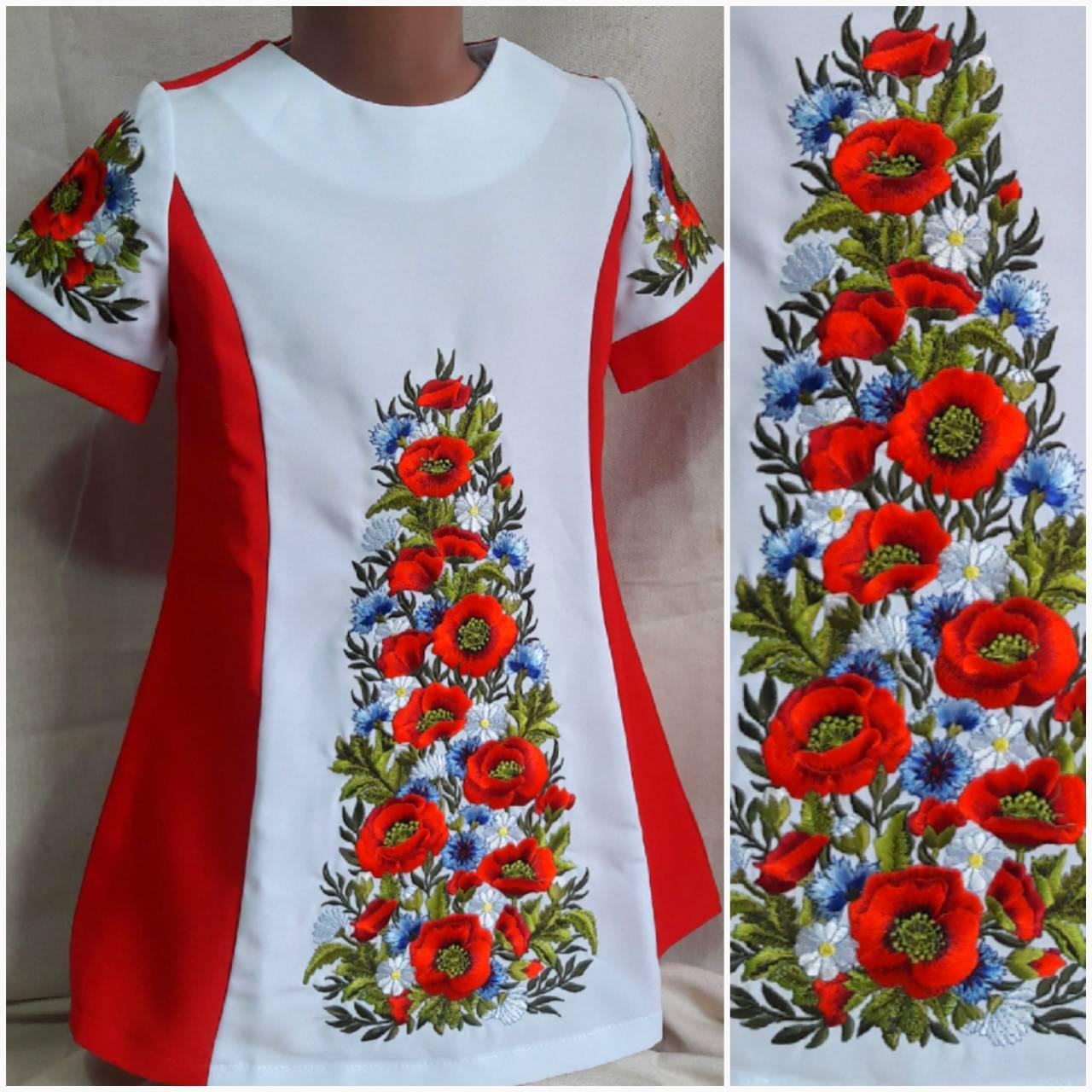 """Вышитое платье для девочки """"Луговые цветы"""", габардин, рост 146-152 см., 370/410 (цена за 1 шт+ 40 гр.)"""