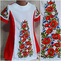 """Вышитое платье для девочки """"Луговые цветы"""", габардин, рост 146-152 см., 370/410 (цена за 1 шт+ 40 гр.), фото 1"""