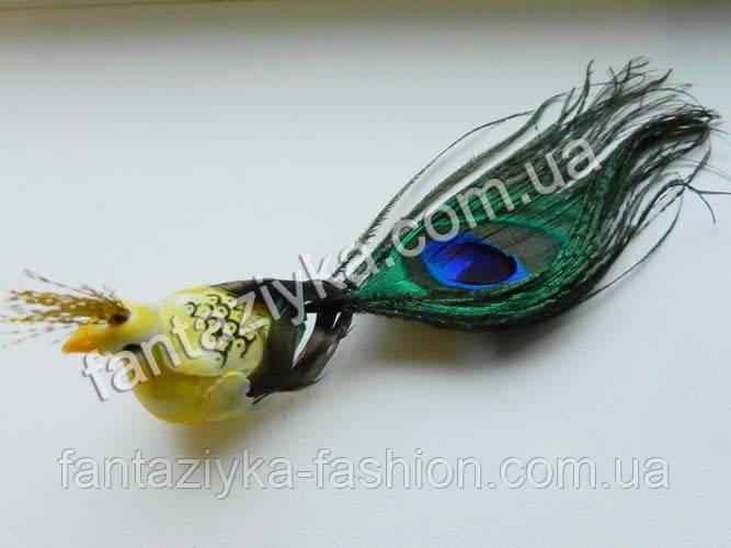 Декоративная птичка, павлин желтый 15см
