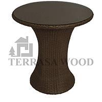 Ротанговый кофейный стол круглый Венеция (2 человека) коричневый