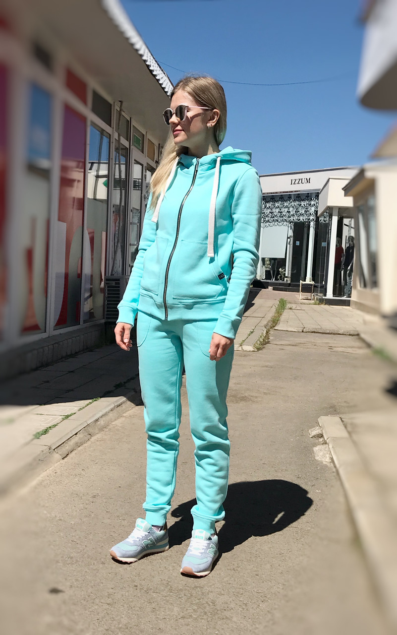 Теплый женский костюм от UGG Australia Zip Merino Sky Blue небесно-голубой на молнии, высокое горло