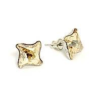 Серебряные серьги-гвоздики Swarovski Crystal Golden Shadow /10,5мм