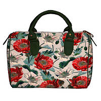 b4b7d1944568 Текстильная женская сумка-бочонок с цветочным принтом. Маки. 2 варианта