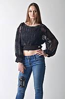 Женская черная шифоновая блуза Amodediosa, фото 1