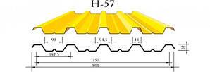 Профнастил с57/к57 цинк ( 0.4мм )