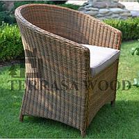 Кресло плетенное из ротанга с подушкой Венеция бронза