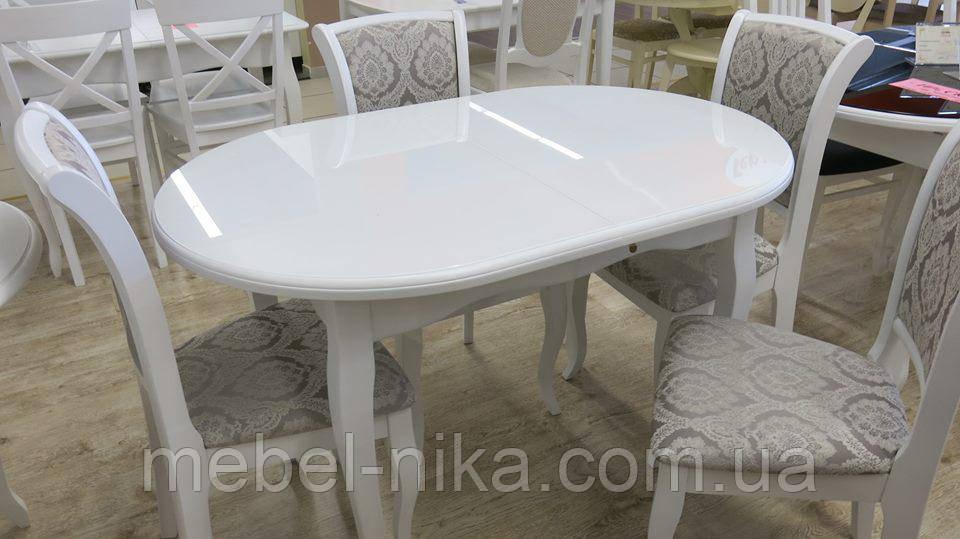 Стіл ЛЕО білий,стільниця лакобель 700/1100/1500