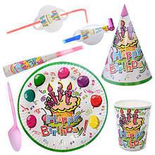 Праздничный набор бумажный на 6чел (трубочки, колпаки, дудки. стаканы, тарелки, ложки)