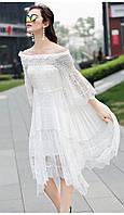 Белое платье с открытыми плечами Amodediosa