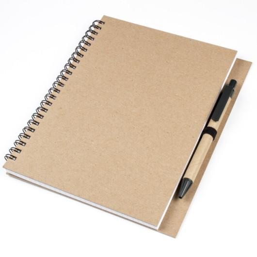 Блокнот А5 ECOVERA на пружине с ручкой