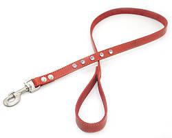 Поводок для собак кожаный со стразами VIP 20 красный
