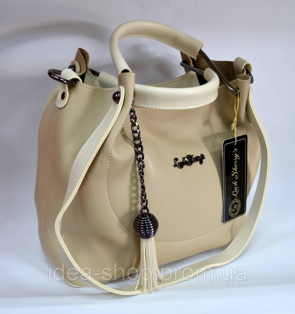 Стильная сумка шоппер бежевого цвета