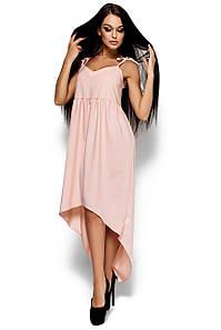 Платье на тонких бретелях-завязках с глубоким декольте персиковое