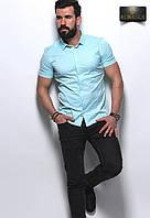 Мужская голубая приталенная тенниска , фото 1