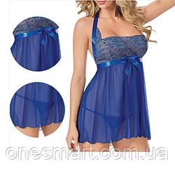 Синий сексуальный пеньюар