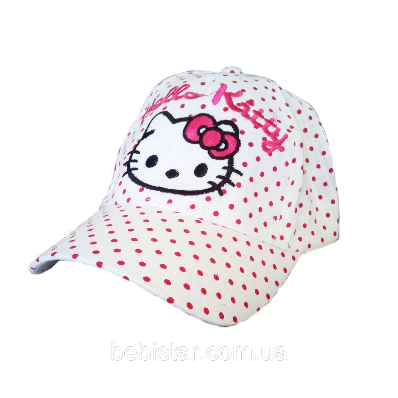 Кепка бейсболка белая в розовый горох для девочки