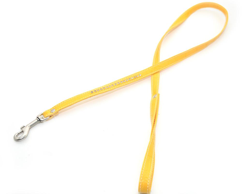 Поводок для собак и котов винил кожа со стразами VIP24 желтый