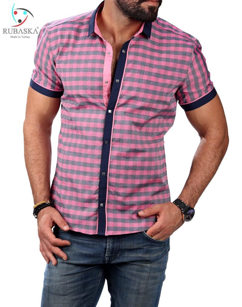 Мужская приталенная тенниска в розовую клетку