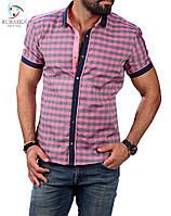 Мужская приталенная тенниска в розовую клетку, фото 1