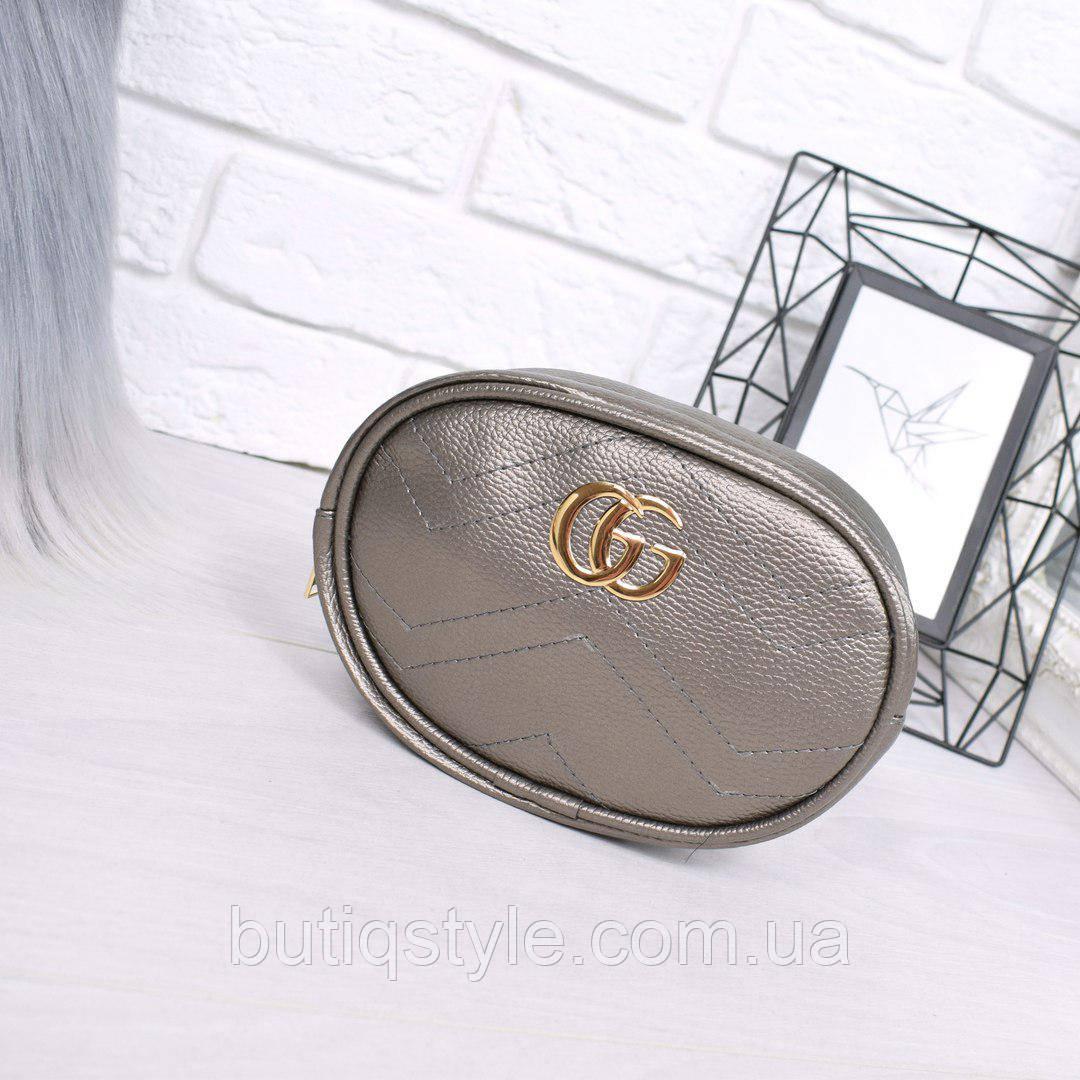 Женская сумка бананка Gu бронза