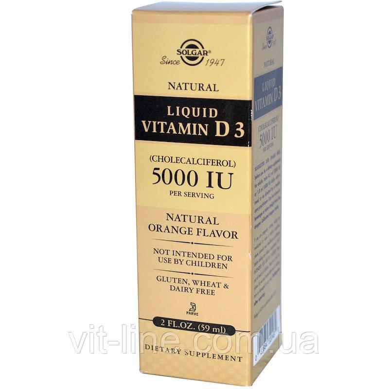 Solgar, Жидкий витамин D3, 5000 МЕ в 1 порции, с натуральным апельсиновым вкусом 59мл