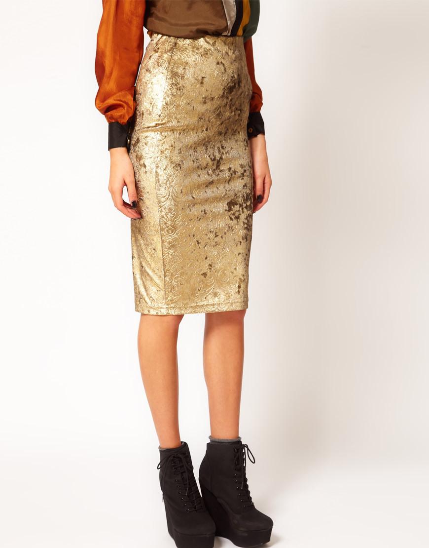 Бархатная юбка-карандаш с золотистым напылением River Island