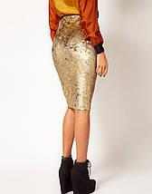 Бархатная юбка-карандаш с золотистым напылением River Island, фото 3