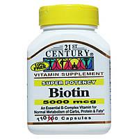 Биотин для укрепления ногтей и волос, 21st Century Health Care, Biotin, 5000 мкг, 110 капсул
