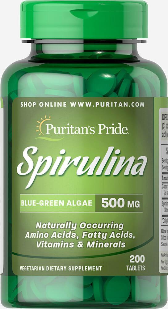 Спирулина в таблетках, Spirulina 500 mg, Puritan's Pride, 200 таблеток