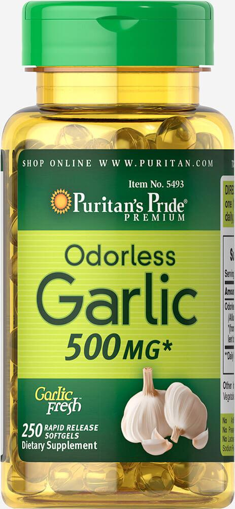 Чеснок без запаха, Odorless Garlic 500 mg, Puritan's Pride, 250 капсул