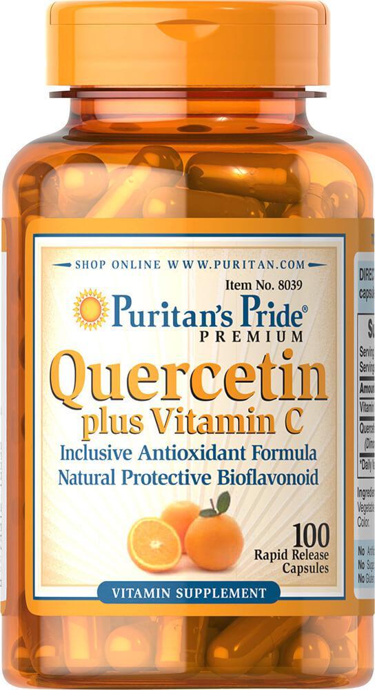 Кверцетин и Витамин С, Quercetin Plus Vitamin C 250 mg/700 mg, Puritan's Pride, 100 капсул