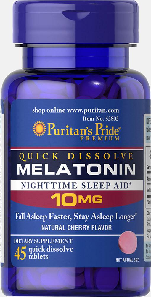 Мелатонин быстрого действия, Melatonin 10 mg, Puritan's Pride, 45 таблеток вкус вишни