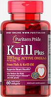 Масло Криля и Омега-3 концентрат, Krill Oil Plus High Omega-3 Concentrate 1085 mg, Puritan's Pride, 60 капсул