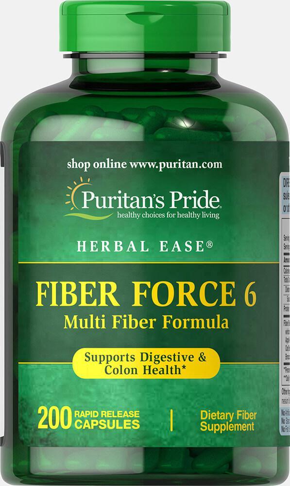 Комплекс клетчатки, Fiber Force 6, Puritan's Pride, 200 капсул