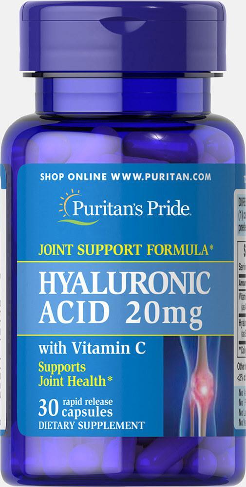 Гиалуроновая кислота, Hyaluronic Acid 20 mg, Puritan's Pride, 30 капсул