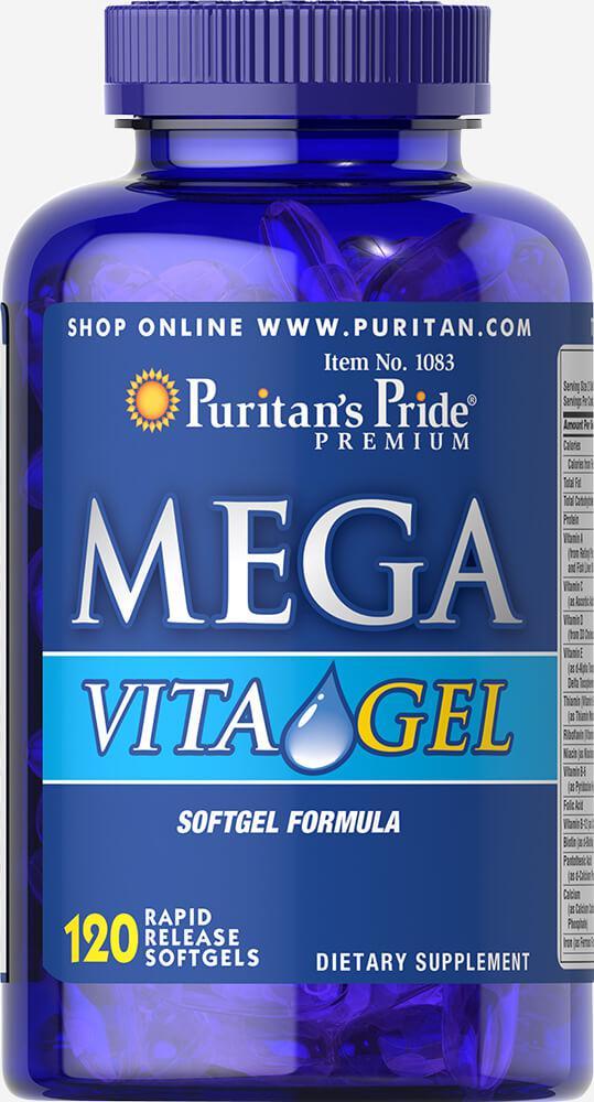 Поливитамины Mega Vita Gel, 26 витаминов,   Puritan's Pride, 120 капсул