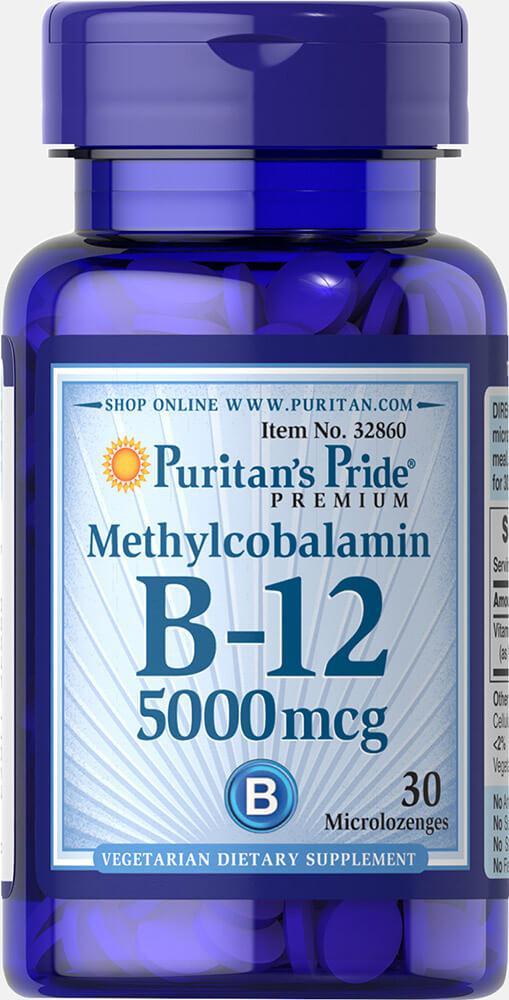 Метилкобаламин Витамин В-12, Vitamin B-12 5000 mcg, Puritan's Pride, 30 таблеток