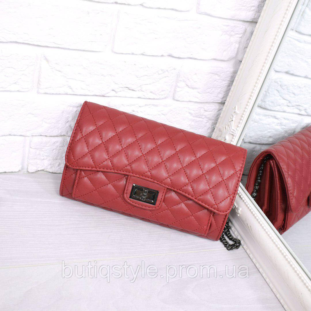 Женская сумка Flap mini бордовая, экокожа