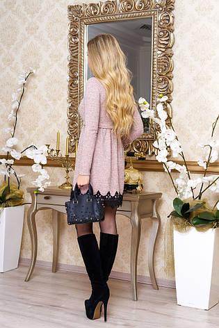 """Платье """"Лотос"""" из ангоры и кружева (персиковое), фото 2"""