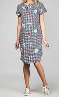 Платье в клетку с цветочным принтом женское (супер софт)