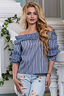 Блуза с открытыми плечами из принтованного льна 42-48 размера, фото 1