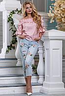 Блуза з відкритими плечима з принтованого льону 42-48 розміру, фото 1