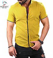 Мужская желтая приталенная тенниска , фото 1